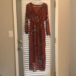 Burnt orange and floral long sleeve maxi dress